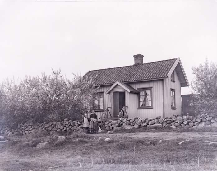 """Enligt text som medföljde bilden: """"Petter Karlssons stuga Malmön 1912 Pival?.  Framkallat 1 år efter exponeringen."""""""