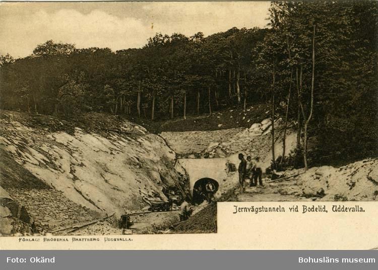 """Tryckt text på vykortets framsida: """"Järnvägstunneln vid Bodelid, Uddevalla."""""""