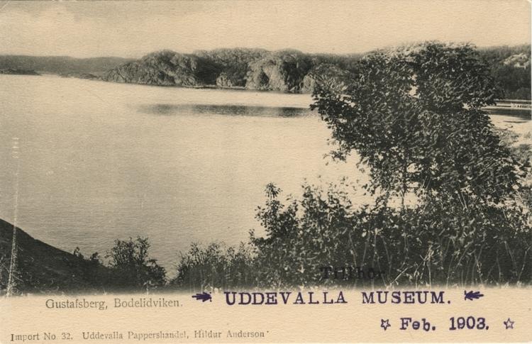 """Tryckt text på vykortets framsida: """"Gustafsberg, Bodelidviken."""""""