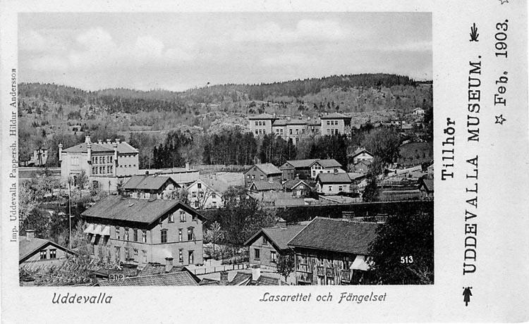 """Tryckt text på vykortets framsida: """"Uddevalla Lasarettet och Fängelset."""""""
