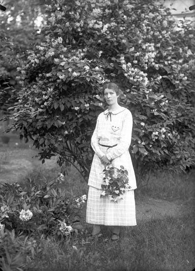 Fotograf Selma Sahlberg bland pioner och doftschersminer på Högås utanför Uddevalla år 1925.