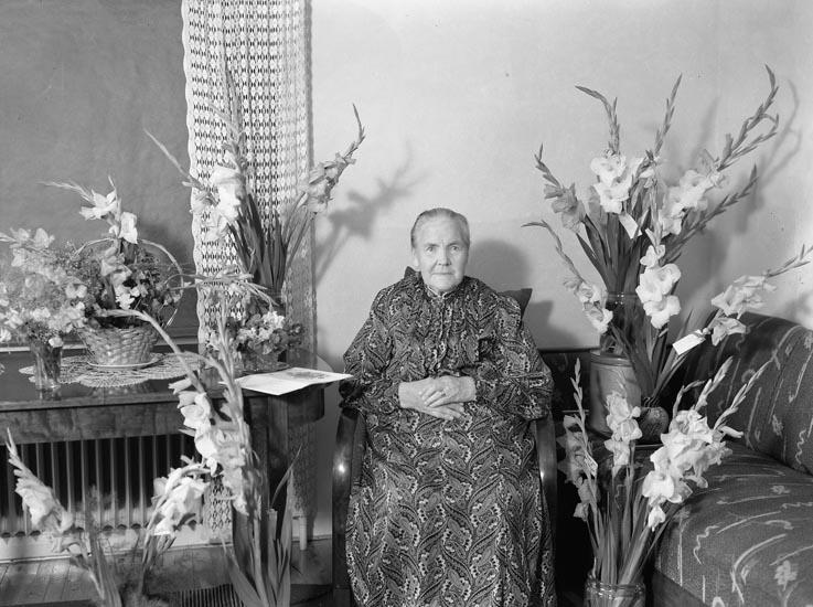 """Enligt fotografens noteringar: """"1947. 12. Erik Johanssons mor Möe."""""""