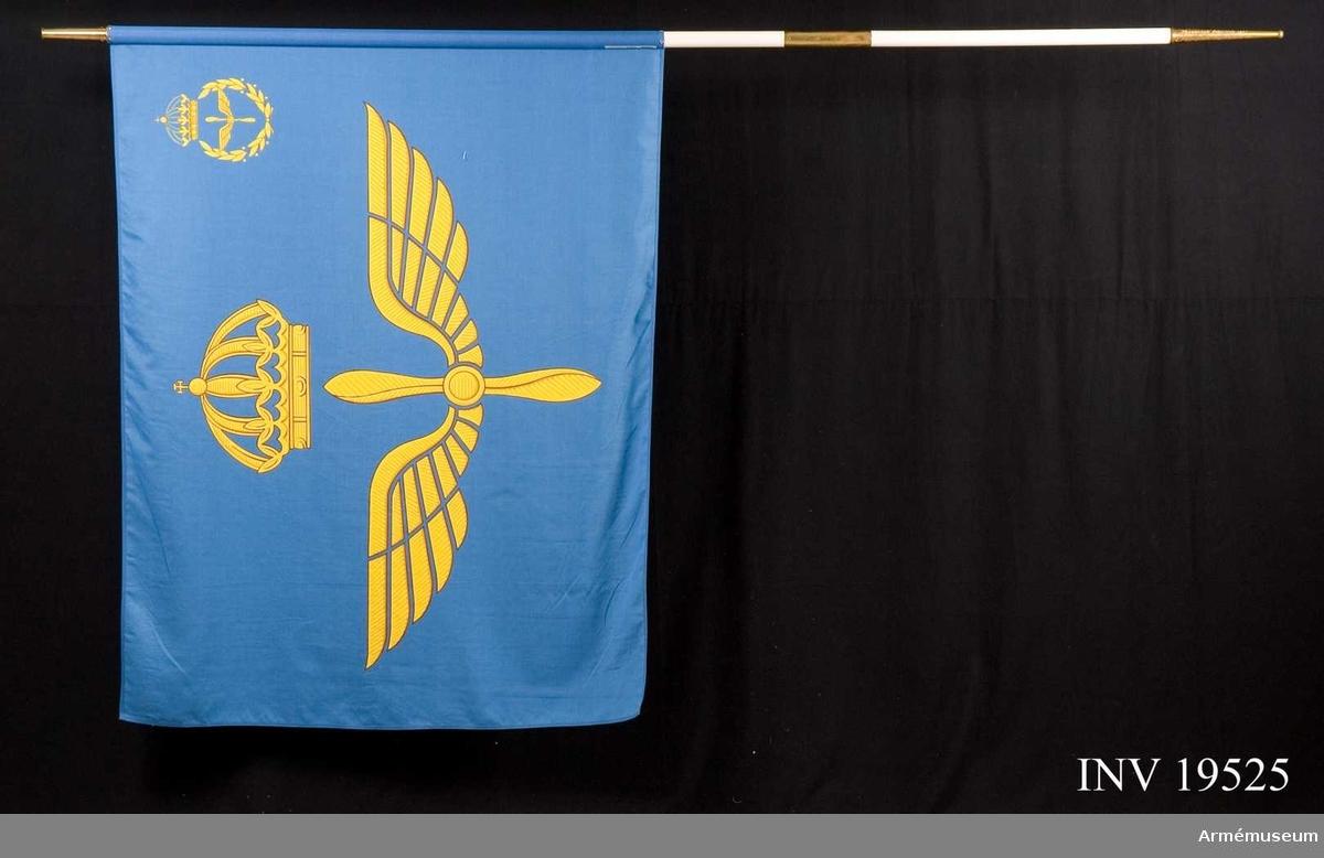 Fanans motiv består av två gula vingar omkring en propeller krönt av en kunglig krona.  I övre inre hörnet finns samma motiv, omslutet  av en lagerkrans. Fanan är i god kondition. Text på nedre delen av stången: Flygkadettskolan 1943, Flygvapnets krigsskola 1967, Flygvapnets krigshögskola 1982, Vaktfana tillverkad 1986. Fanan har delbar stång.