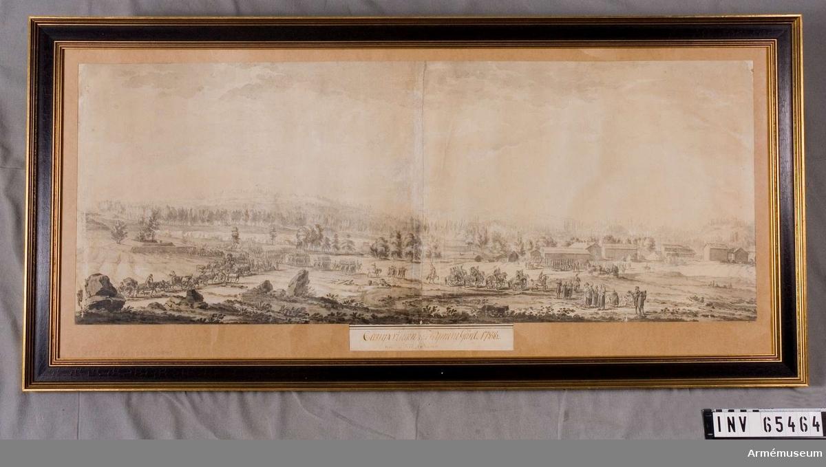 Grupp M I.      Laveringen föresäller en militär lägerplats vid Kymene gård i Viborgs län i Finland 1788.