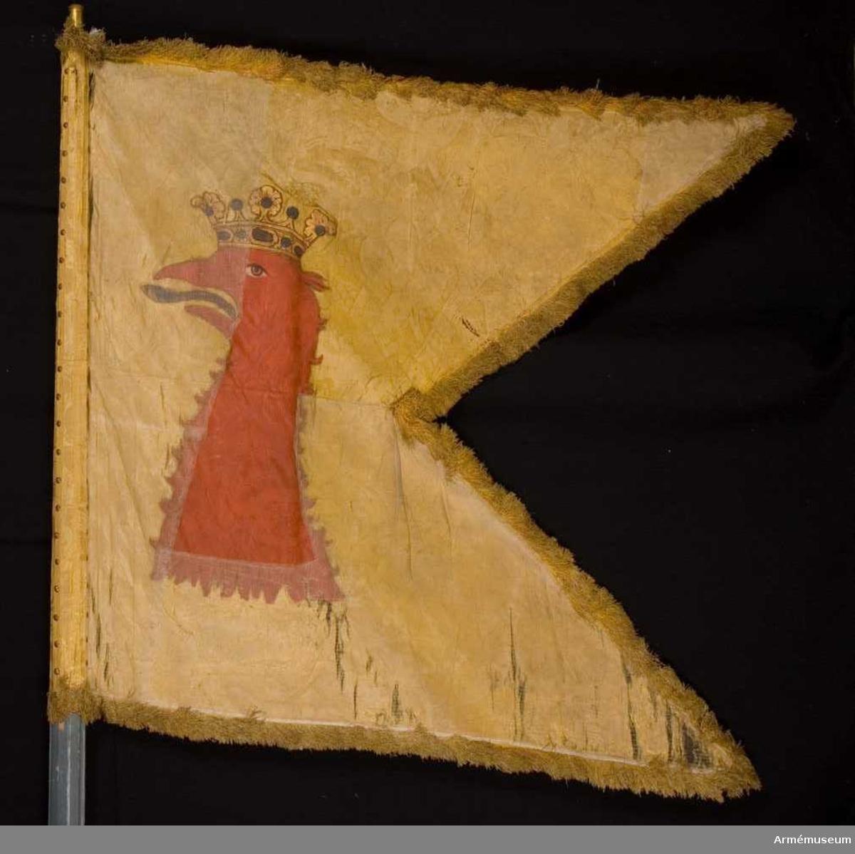 Duk: Tillverkad av enkel gul sidendamast, sydd av två horisontella våder. Tvåtungad. Kantad med enkelsilkesfrans i rött och gult. Fäst vid stången med tre rader tennlickor på enkla gula sidenband.   Mönster: Dukens damast har en bisarr design, jämför 16987 (AM.068121)..  Dekor: Målad omvänt lika på båda sidor, Skånes sköldemärke, ett rött griphuvud med tunga i silver och rött. Krönt med öppen gyllene krona, rödskuggad.  Stång: Tillverkad av blåmålad furu. Kannelerad ovanför greppet, nedanför rund. Löpande bärring. Beslagen med tre järnskenor. Holk av förgylld mässing.