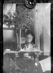 Avfotografering av bilde av gammel dame ved bord