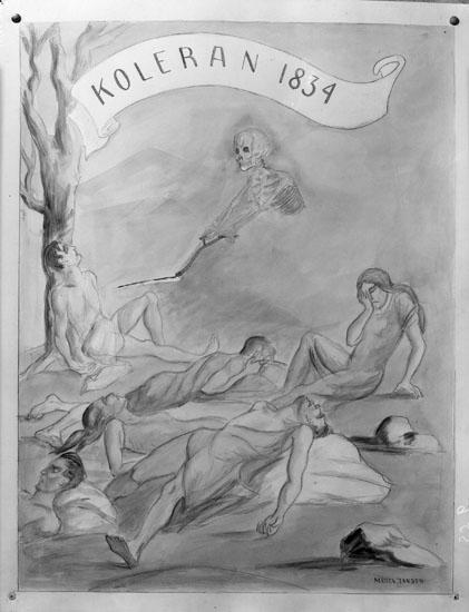 """Uppgift enligt fotografen: """"Uddevalla. Målning av Märta Jansson. """"Koleran 1834."""""""