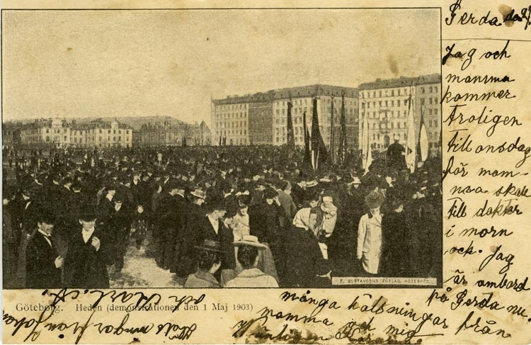 Notering på kortet: Göteborg. Heden (demonstrationen 1 Maj 1903).