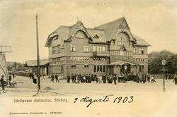 Notering på kortet: Säröbanans stationshus, Göteborg.