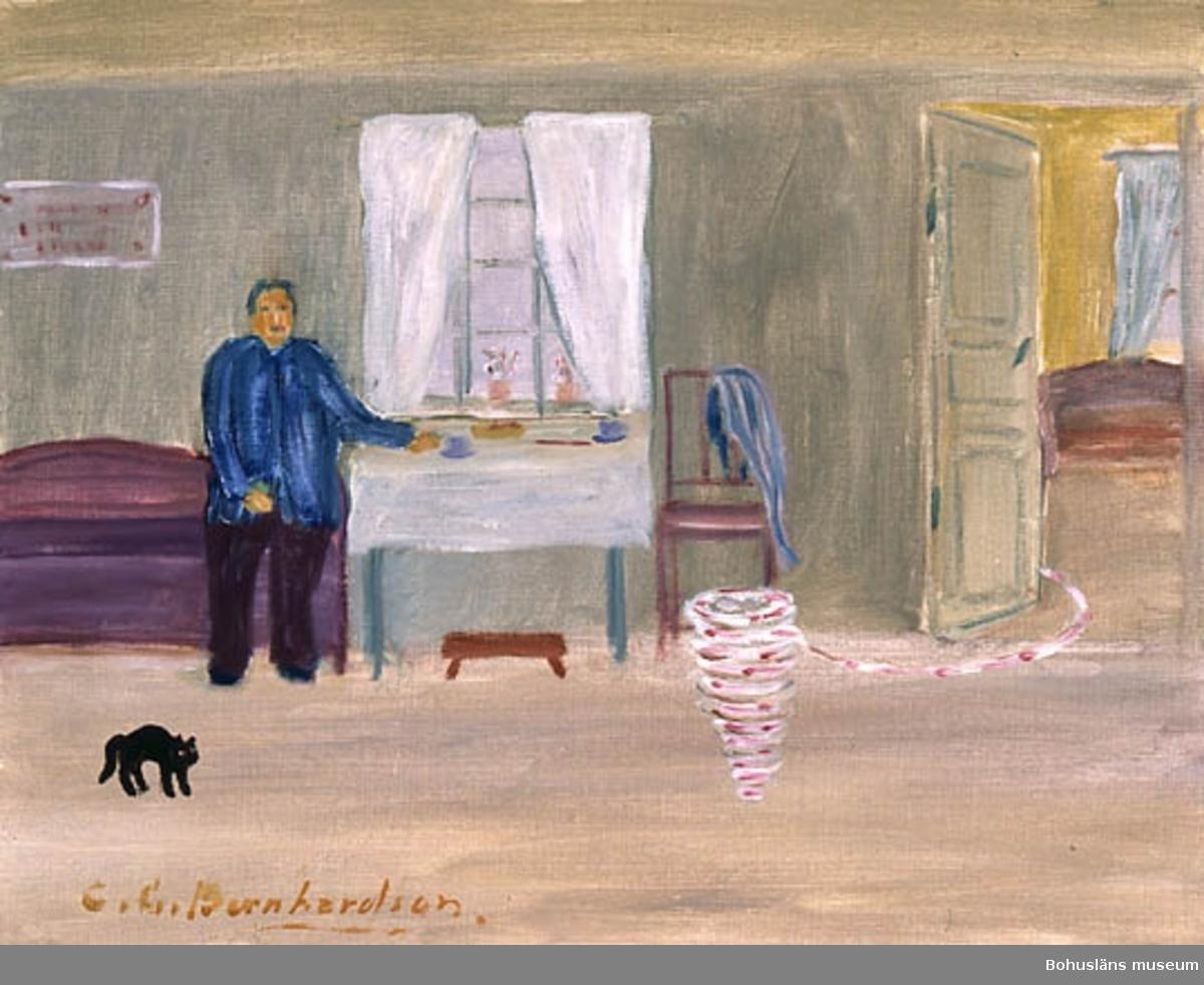 """Baksidestext: """"Spögä?  En man fick, vid besök i ett gammalt hem och när han satt sig på soffan Plötsligt se en virvel av något slags vessleliknande djur stiga upp från golvet i rummet och sedan försvinna som en lång Sträng ut genom dörren. C.G. Bernhardson  Morlanda sogn.""""  Ordförklaring: Sogn = socken.  Övrig historik; se CGB001."""