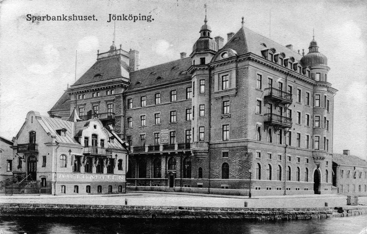 Sparbankshuset vid Södra Strandgatan i Jönköping. Vykort skrivet 1915-12-29.