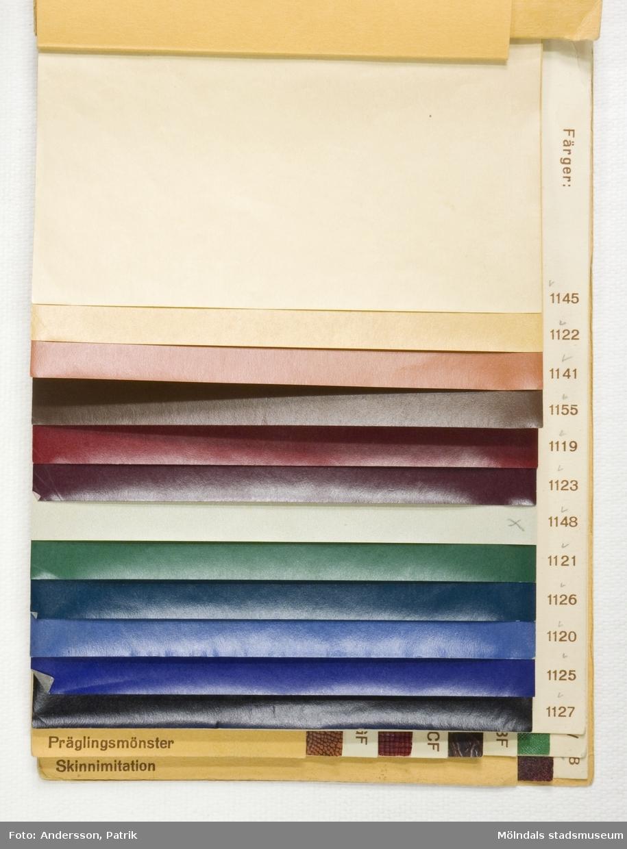 """Provbok Nr 66D. Häfte med prover, """"Matt läderimitation och skinnimitation"""". Pärm av gul mönsterpressad kartong med brunt relieftryck. Papyrus logtyp med sfinx. Provark i olika färg- och präglingsmönster, ordnade lättöverskådligt. En handskriven anteckning, """"Bokbinderiet 1944"""". Litteratur: Papyrus 1895-1945, Minnesskrifter, Esseltes Göteborgsindustrier AB, Göteborg 1945."""