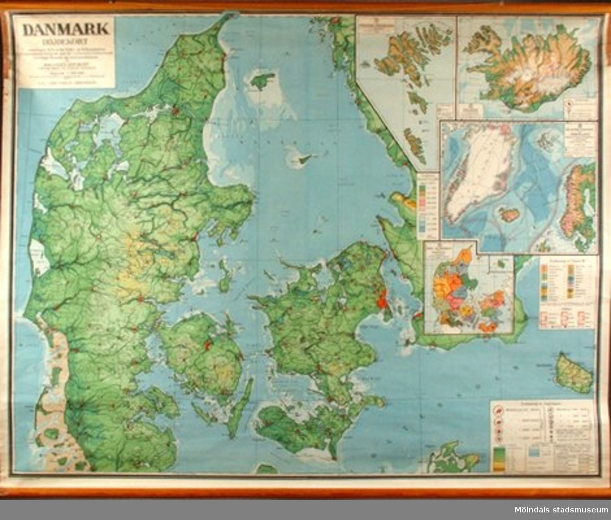 """""""Geografisk karta föreställande Danmark""""."""