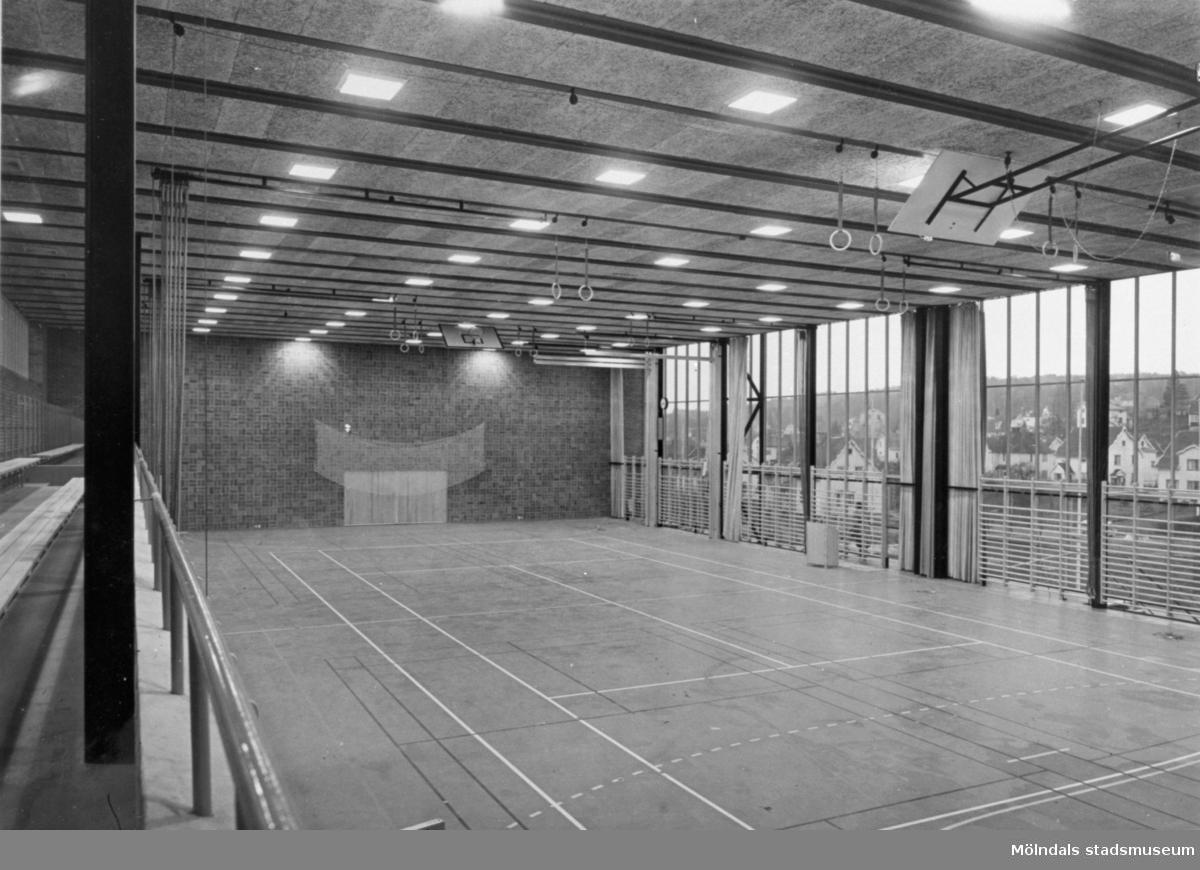 Interiör av gymnastiksal i Sörgårdsskolan.