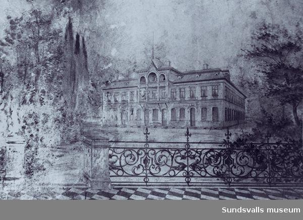 Teckning av Apotekshuset(Grahns)före branden som det är avbildat i vestibulen till det nya.