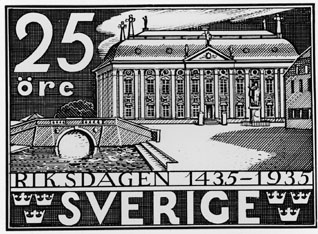 Frimärksförlaga till frimärket Riksdagen 500 år, utgivet 10/1 1935. Riddarhuset. (Se 243 SFF). Valör 25 öre.