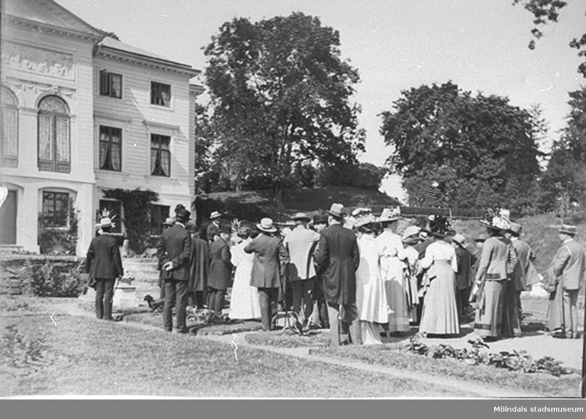 Svenska museimannaföreningen på Gunnebo den 16 juni 1911. Sällskapet är fotograferat i södra trädgården med Floras kulle och östra parterren i bakgrunden.