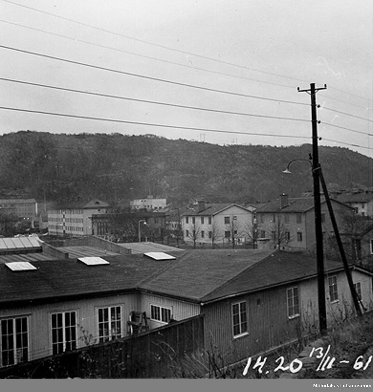 I förgrunden ligger Åbäcksgatan 8, fabriks- och verkstadsbyggnad. I bildens mitt ses biografbyggnaden bakom träddungen och gatlyktan. Huset var egentligen Krokslätts Folkets hus, som levde av dans och bio. I bakgrunden ses Rallarberget där Siemens fabriksbyggnad ligger i mitten, till vänster.