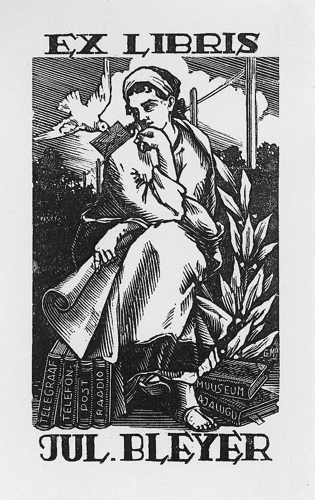 Ett postalt exlibris, gåva från den estniske grafikern Gustav Mootse (GMo) Viljandi (Fellin)(VII/VIII 1949). Kvinnogestalt - Klio - historiens musa.