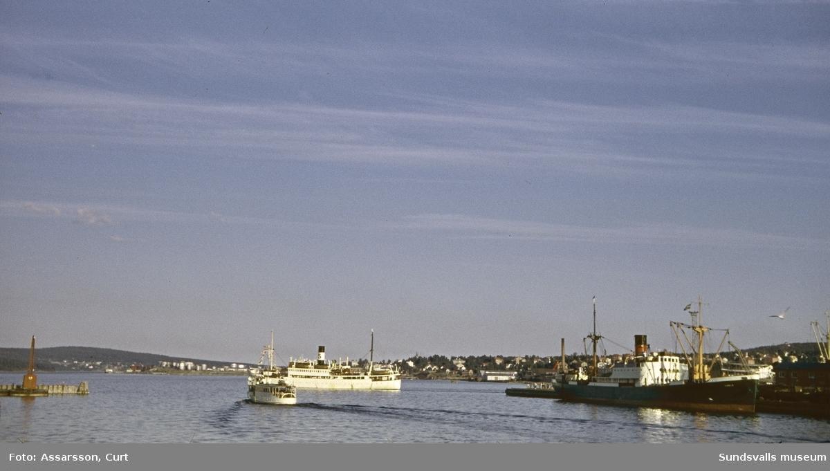 Vy över hamnen i Sundsvall.