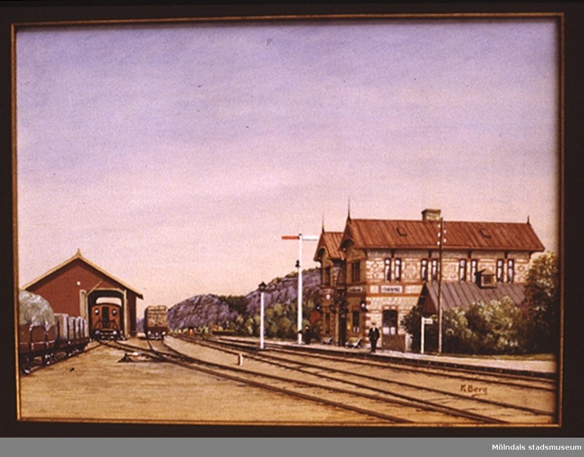 Järnvägsstation i Mölndal.En tavla målad av den naivistiske mölndalskonstnären Knut Berg.