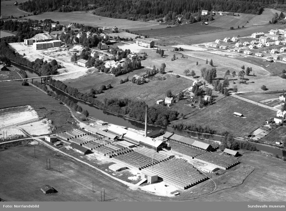 Flygfoton över västra industriområdet med Högoms tegelbruk, Nacksta tegelbruk, Bilbolaget och Televerkstaden.
