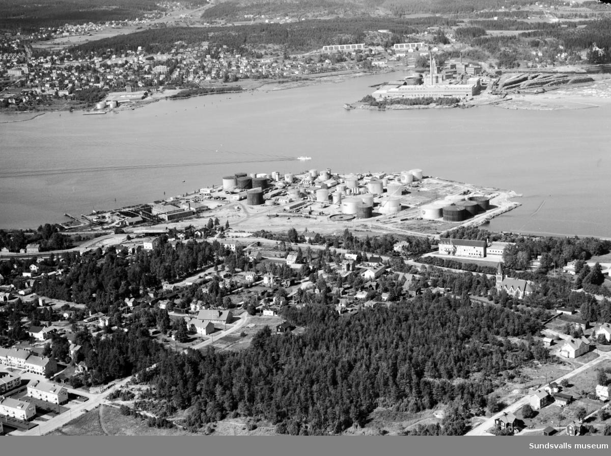 Flygfoto över Skönsmon norrut mot Vindskärsudde och Ortviken.