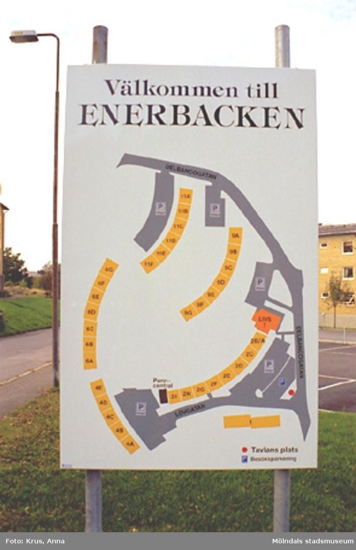 Västra Enerbacken - Informationsskylt över området.