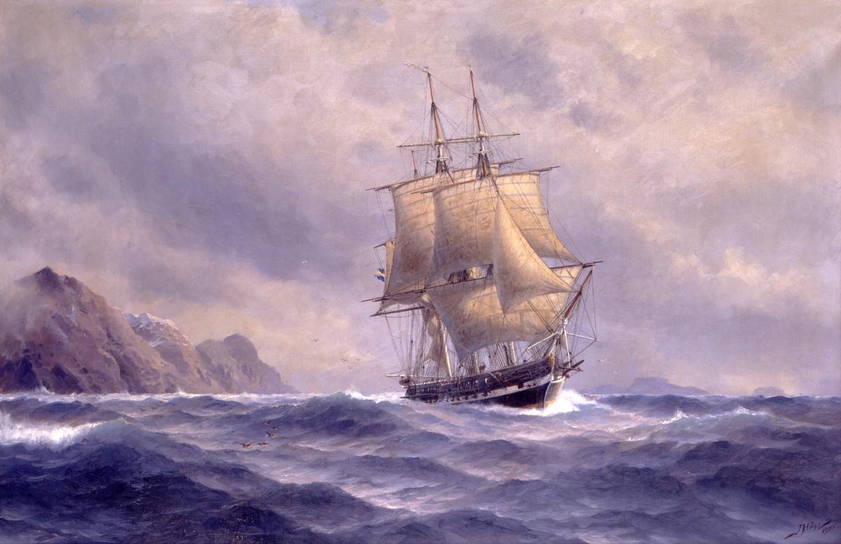 Fregatten EUGENIE då hon den 10 februari efter fullbordad genomsegling av Magellans sund nått Sea Reach, det västra inloppet till sundet.