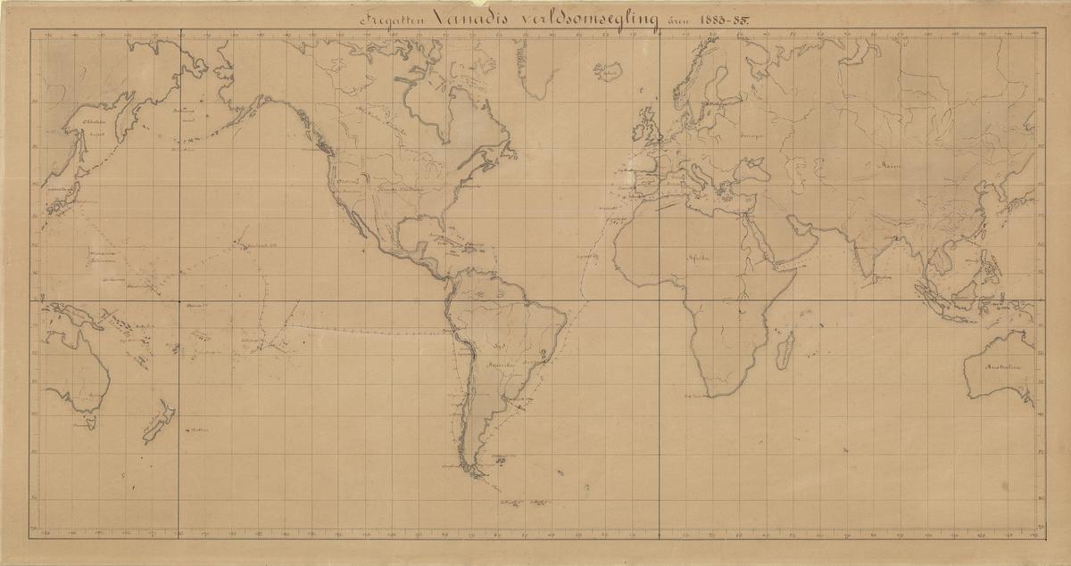Karta över fregatten Vanadis världsomsegling 1883-1885