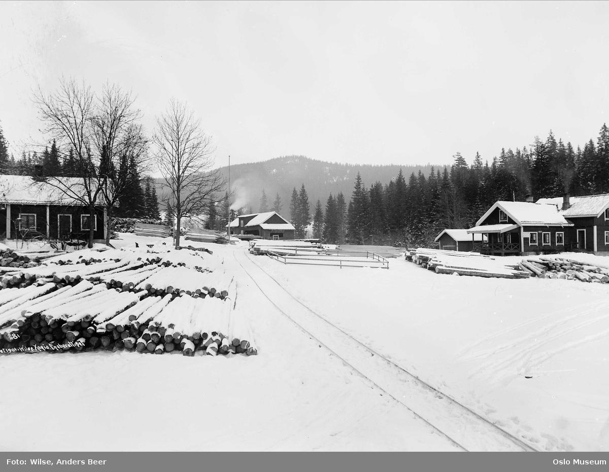 trehus, sagbruk, tømmer, snø, skog