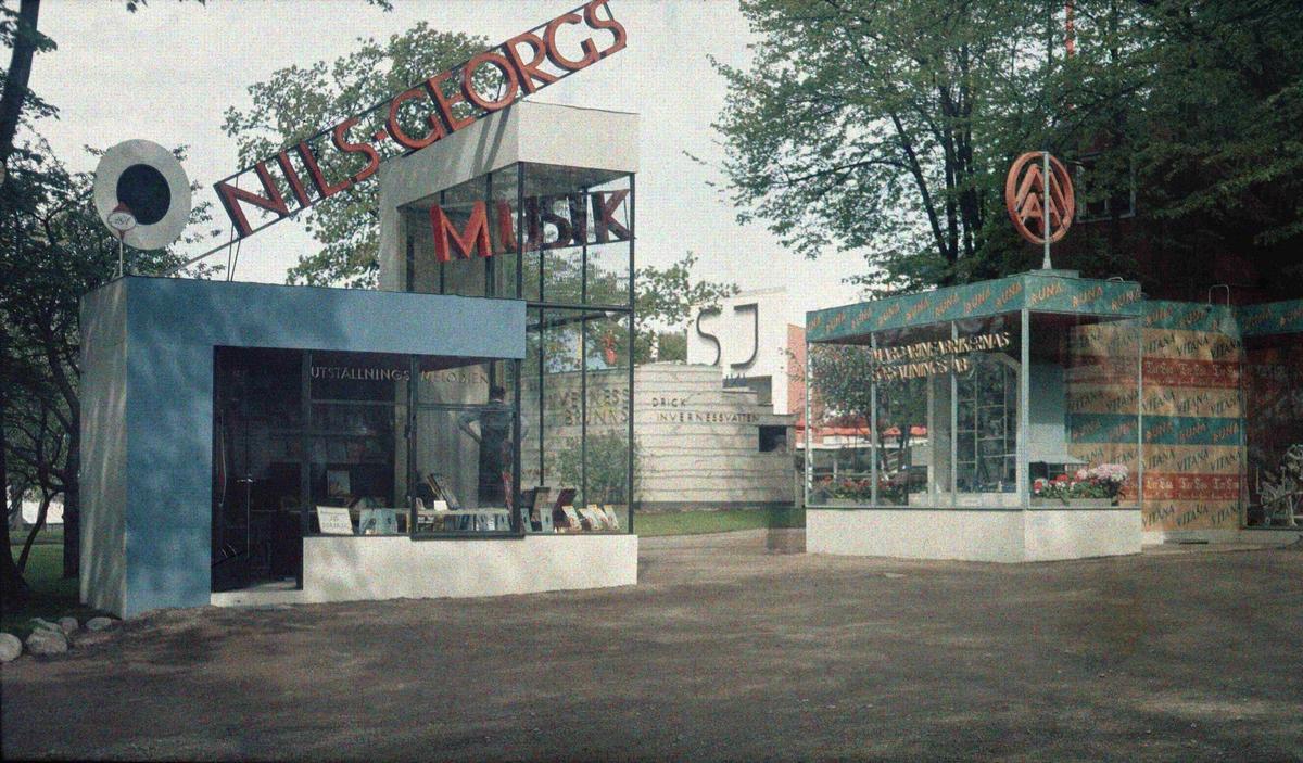 Paviljongerna för Nils Georgs musikförlag. Arkitekt: Hans Quiding. Stockholmsutställningen 1930