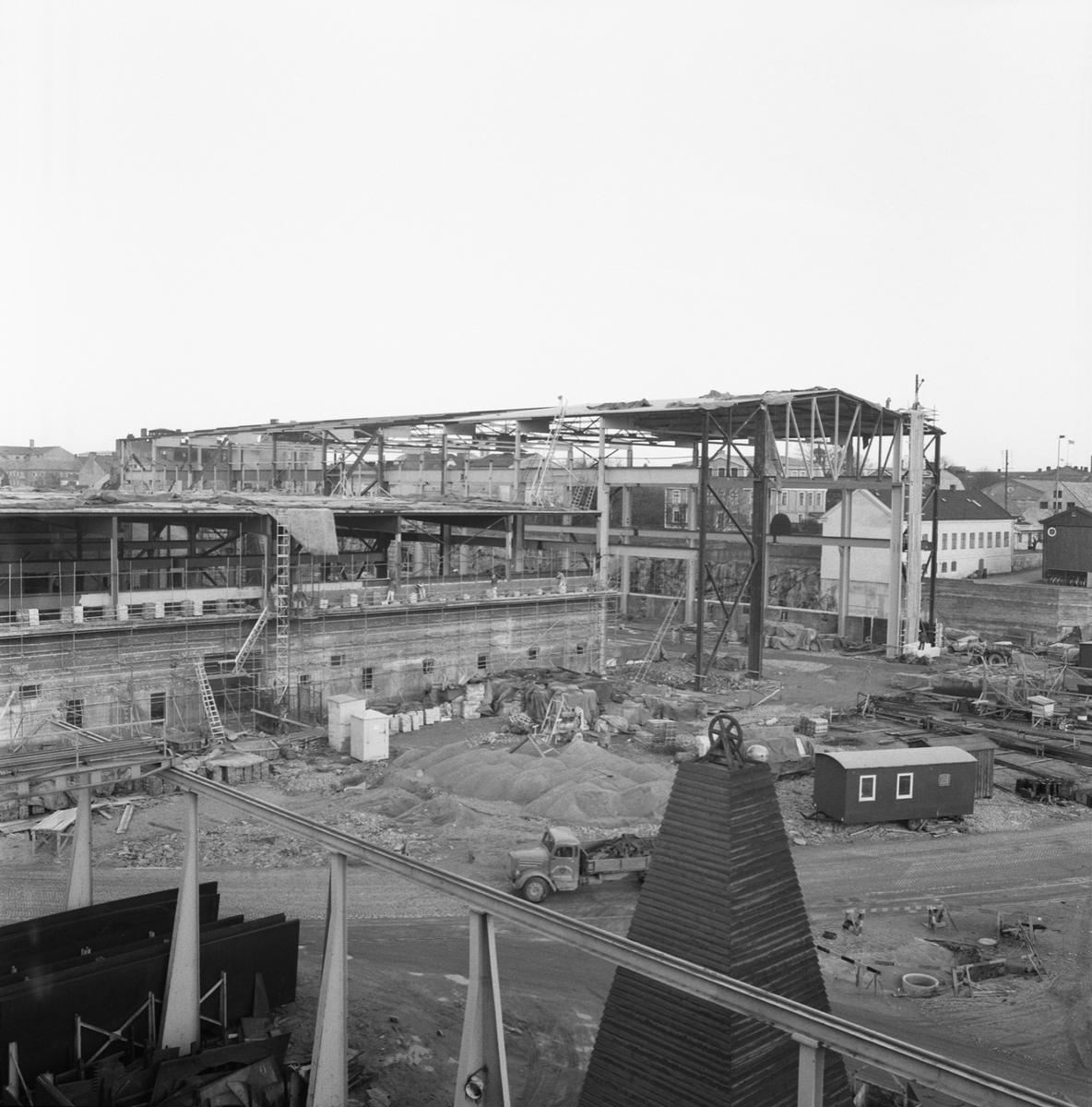 Övrigt: Fotodatum:30/11 1962. Byggnader och Kranar. nyb området plåtverkstan