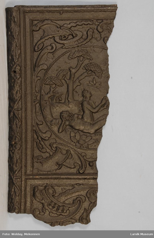Del av: (Evas skapelse) og hyrdenes tilbedelse. omgitt av bruskornamentikk med (engel i midten).