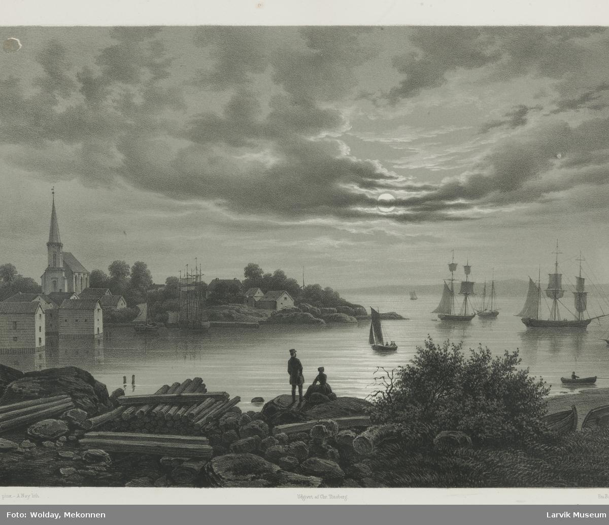 J.C. Dahls bilde over Larvik havn og Tollerodden.