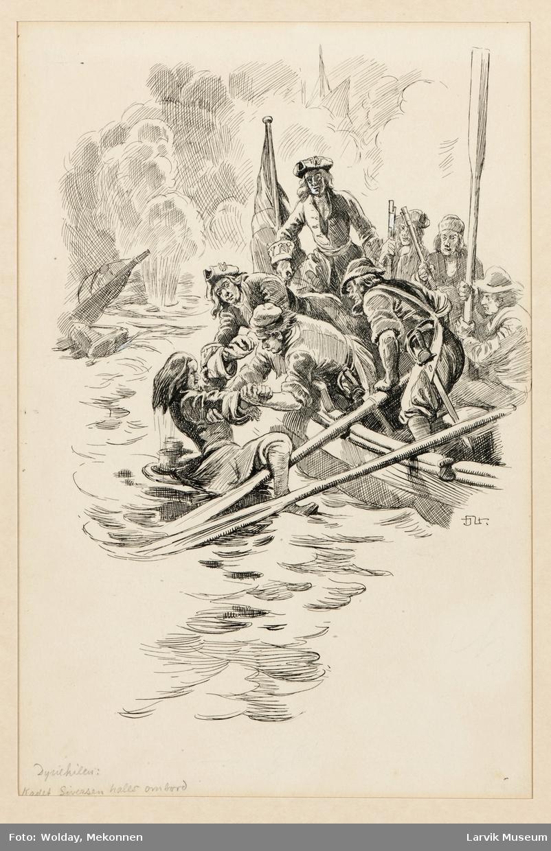 Dynekilen. Kadett Sørensen hales ombord.