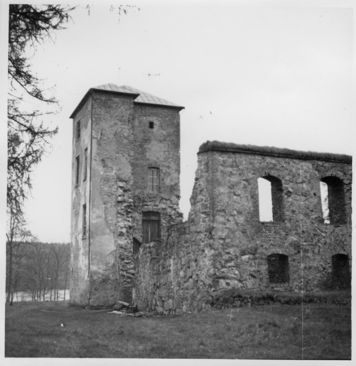 Del av slottsruinen med tornet.  Gräfsnäs