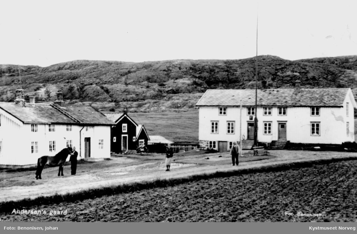 Leif Andersens gård på Leknes, Leif, Marie og Edvard Johansen