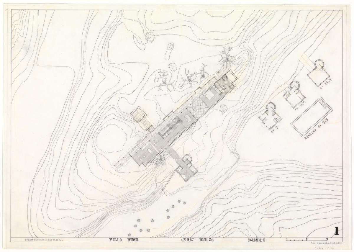 Villa Busk. Plan og situasjonsplan [Plantegning]