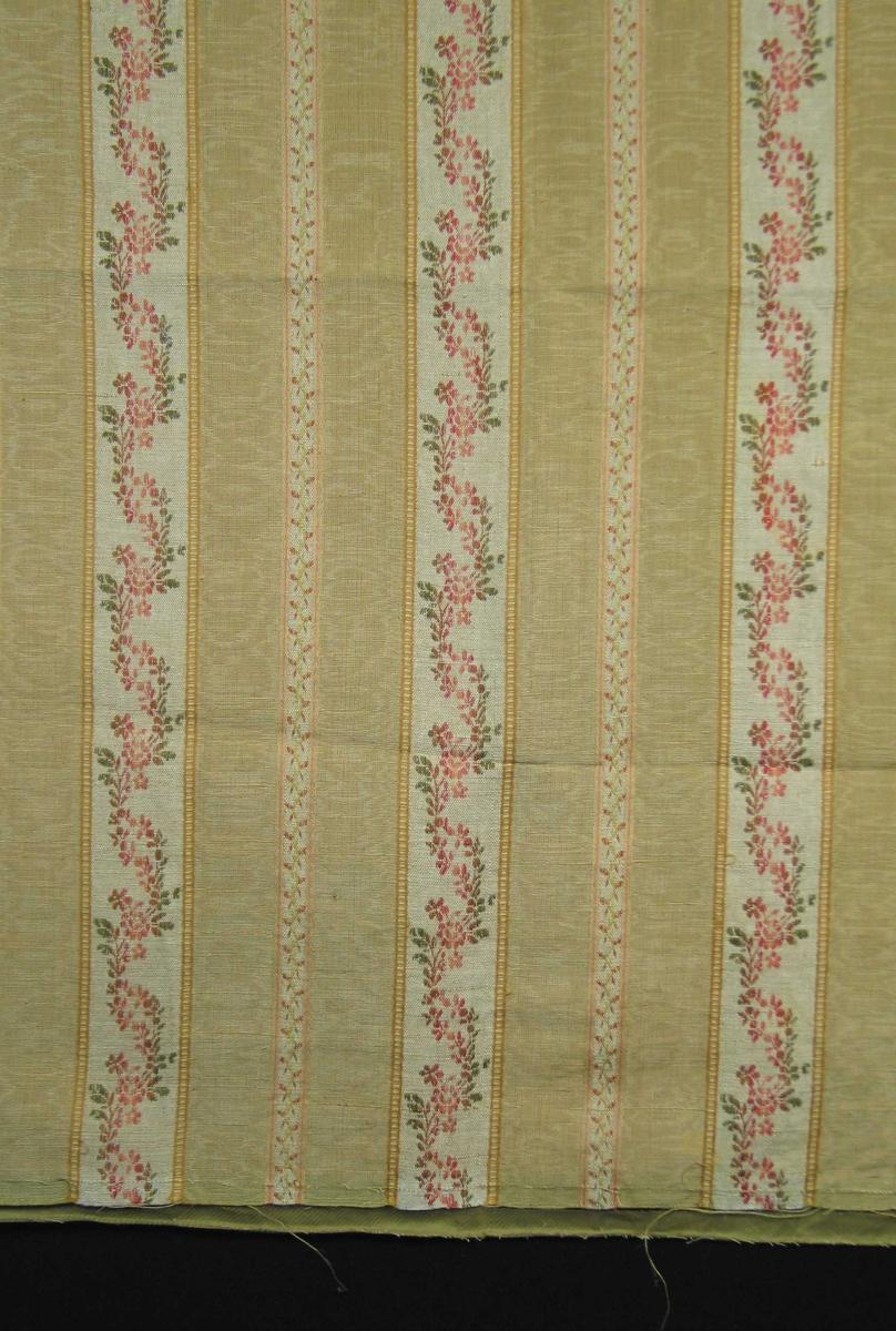 Stoffrest med langssgående blomsterborder. 11 cm bred gul stripe i moirert rips, småmønstrete midtbord. 5 cm bred stripe i lin med bølgete blomsterranke. En mønsterrapport i bredden: 16 cm. Bunnfargen er beige med dekor i gult, rosa og grønt. Fôret med bomullsstoff.