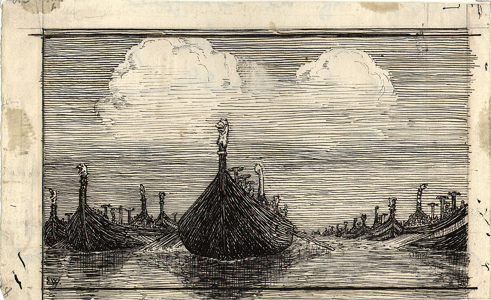 """Illustrasjon til """"Olav Trygvasøns Saga"""", Snorres Kongesagaer, 1899 [Tegning]"""