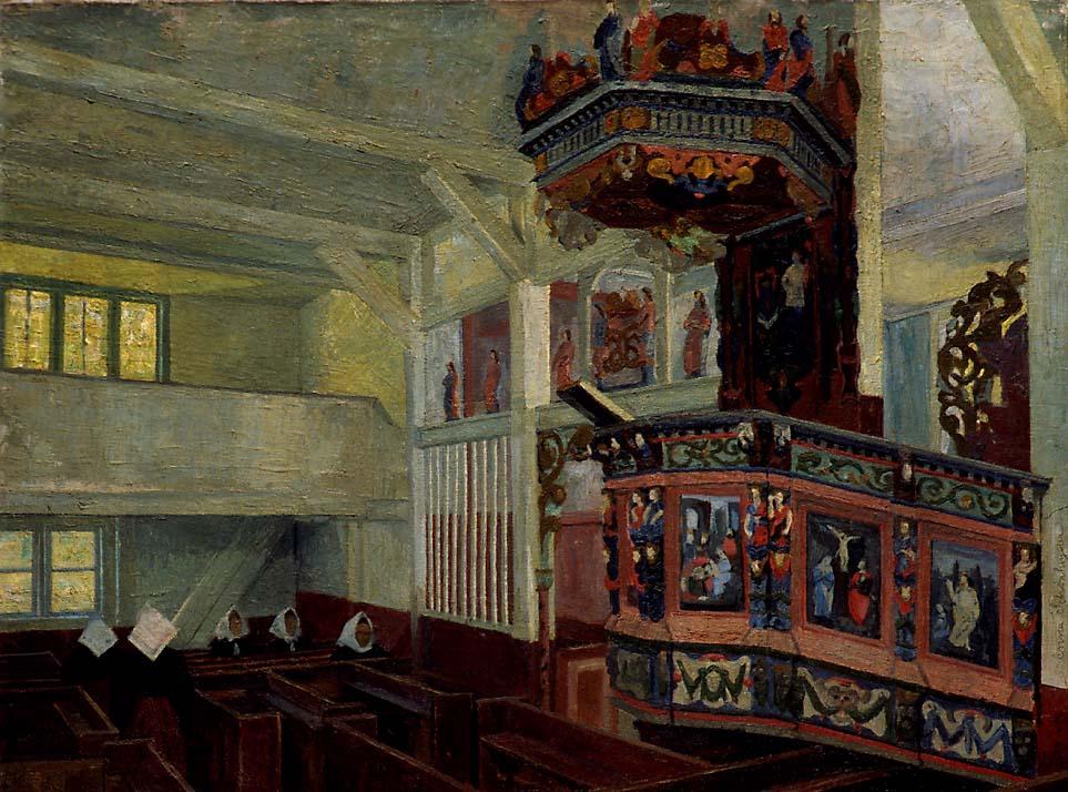 Vågå kirke før gudstjenesten [Maleri]