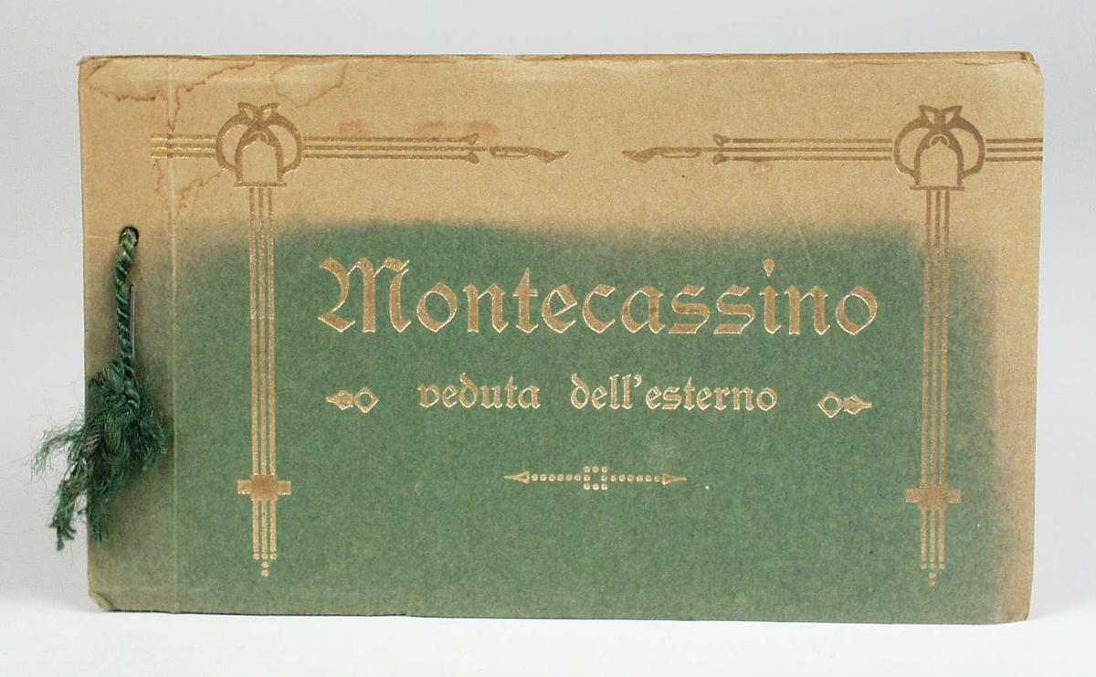 Et album med 18 sort/hvite postkort med eksteriørbilder fra Montecassino. Albumet er grønt, delvis falmet, med forgylt skrift og dekor på forsiden. Postkortene kan rives løs fra albumet. Kortene er adskilt med silkepapir. Et av kortene er revet løs.