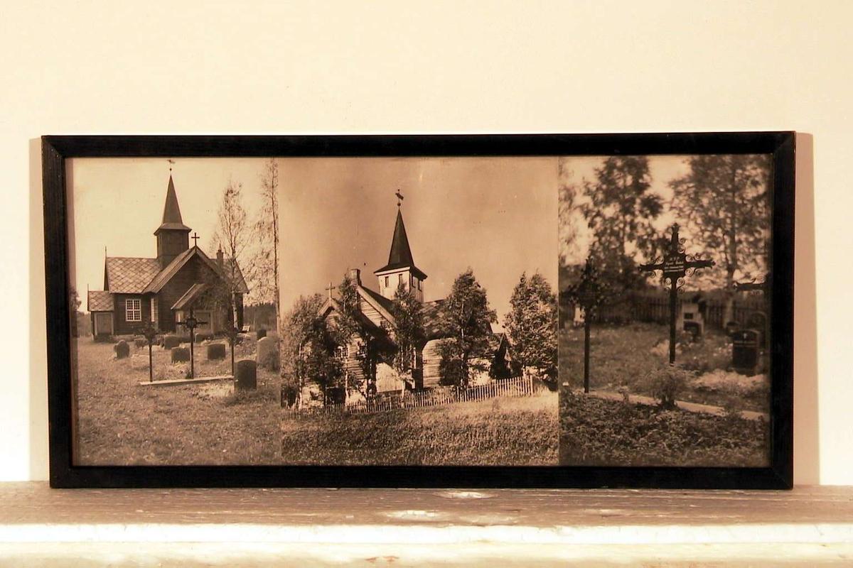 3 sort/hvite fotografier av Mesnalia kirke og kirkegård i glass og ramme. Rammen er sort.