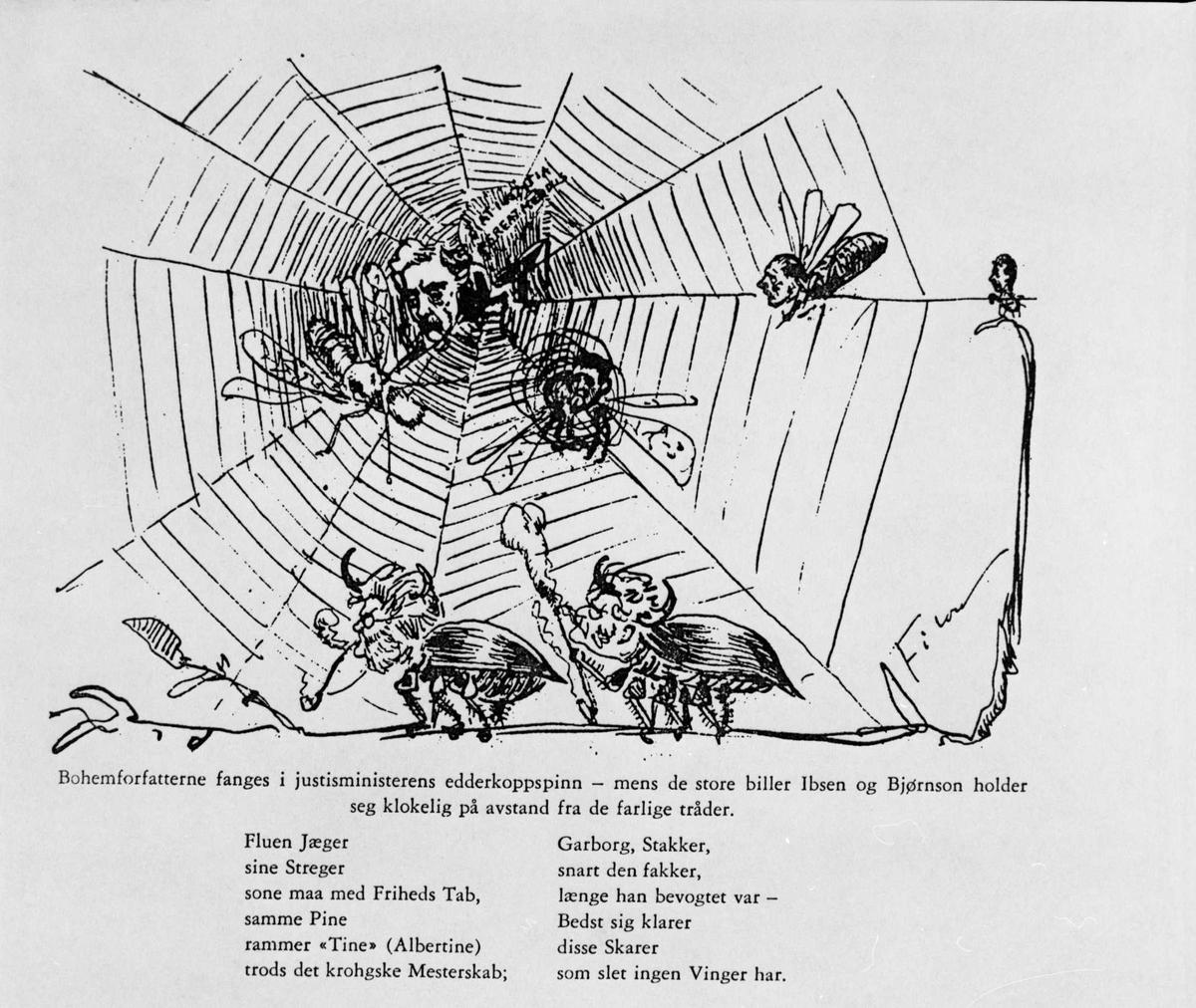 Karikatur, Bjørnson, Ibsen, biller, edderkoppspinn, bohemforfattere,
