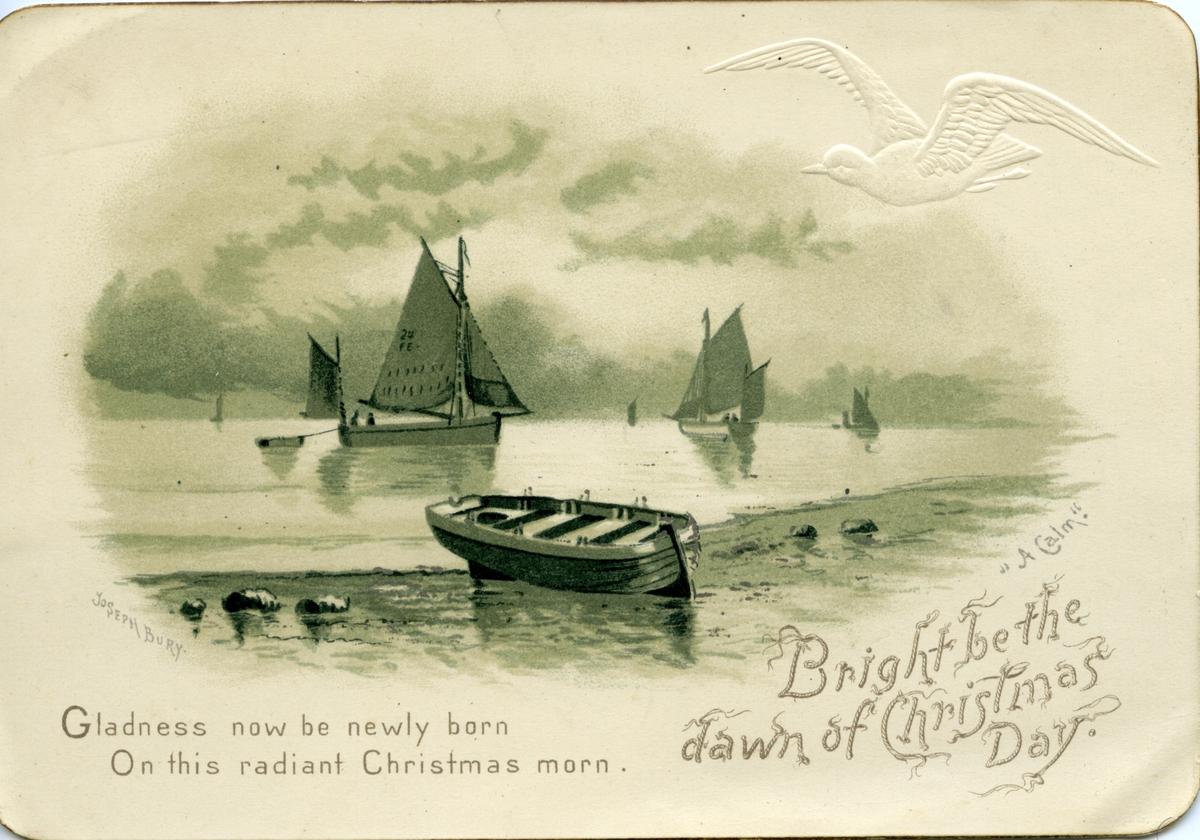 Julekort, båter,