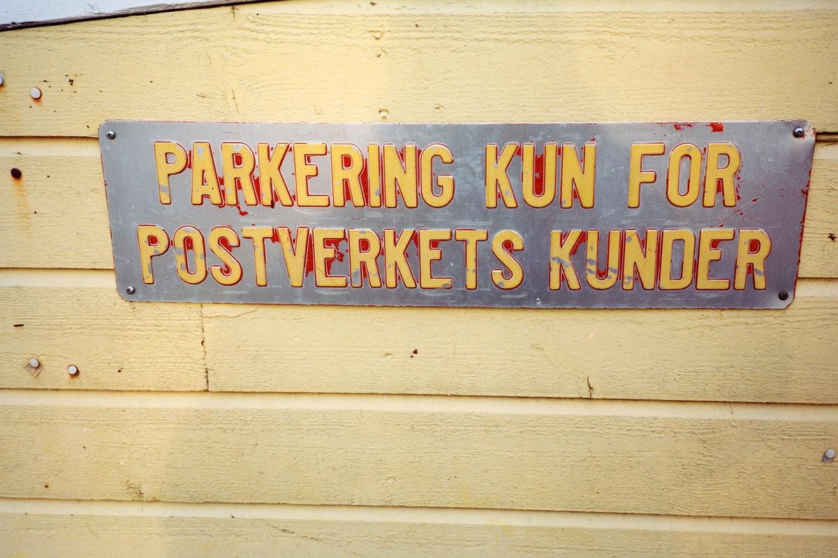 eksteriør, postkontor, 0137 Bekkelaget, opplysningsskilt, parkering kun for Postverkets kunder