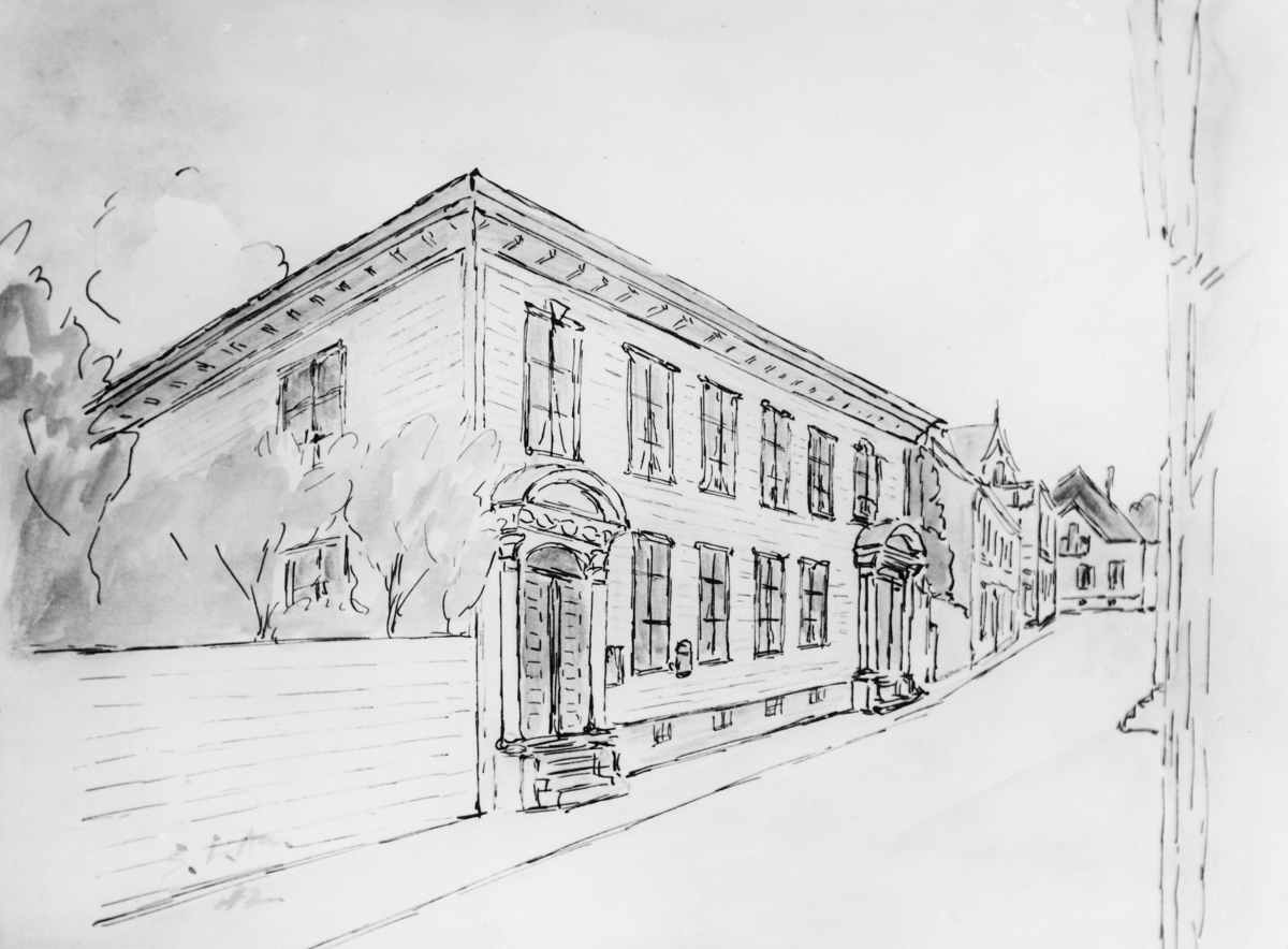 tegning, Flekkefjord, post og telegraf