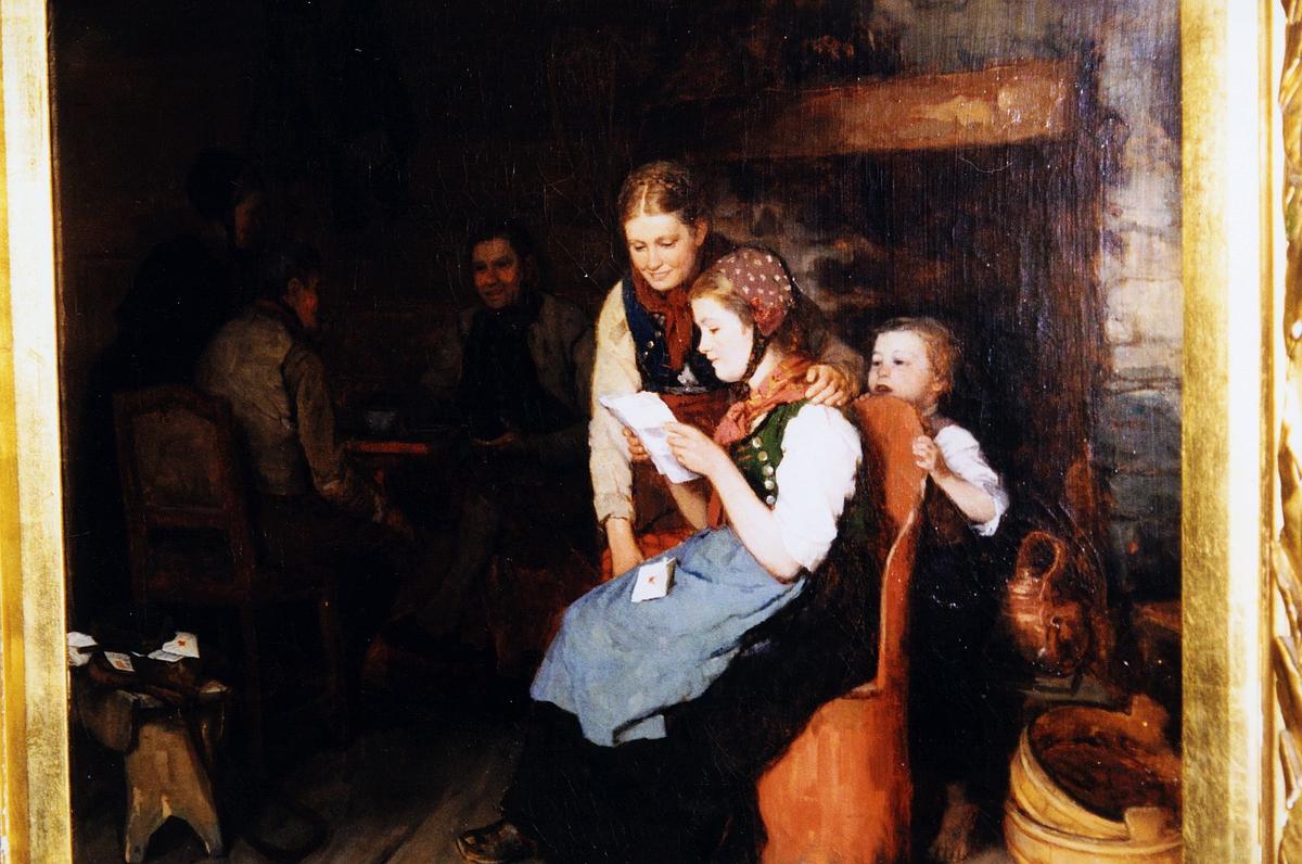kunst, maleri, Jan Ekenæs, Brevet, malt i 1877, kvinne sitter og leser et brev, konvolutten ligger i fanget, kvinne og barn står og lytter, menn sitter i bakgrunnen, kubbestol, krakk med postveske og brev, kobberkjele, trefat, nærbilde