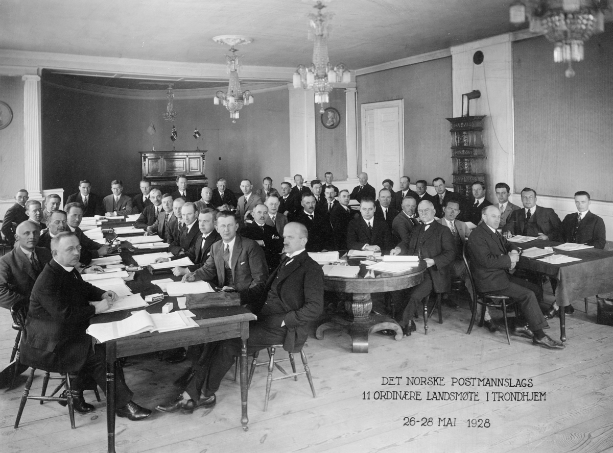 gruppebilde, Det Norske Postmannslags 11 ordinære landsmøte 26-28 mai 1928, Trondheim